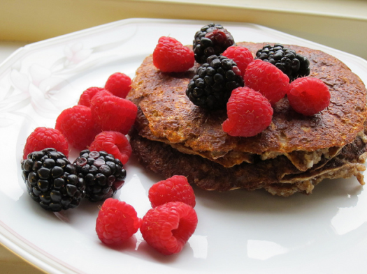 coconut and cocoa nibs pancakes
