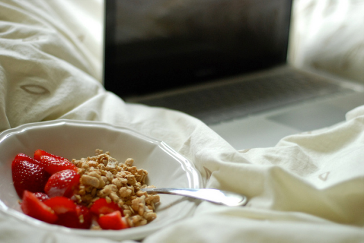 strawberries. vanilla yogurt and berry granola